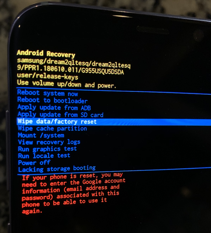 Android Recovery menu, selecting wipe data/factory reset.