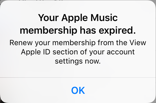 Your Apple Music Membership has expired error message.