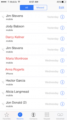 Call history within the Phone app on an iPhone