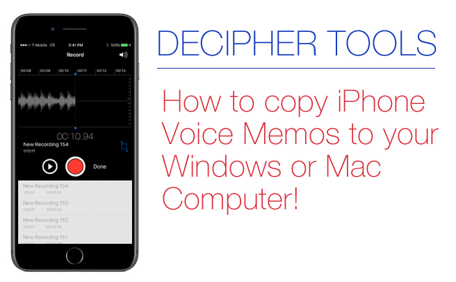 How to copy iPhone voice memos to computer.