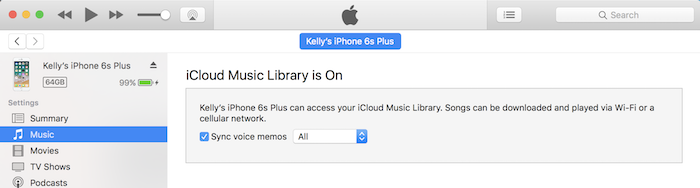 Turn on voice memo syncing in iTunes