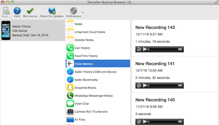 transfer iPhone voice memos to your computer with decipher backup browser