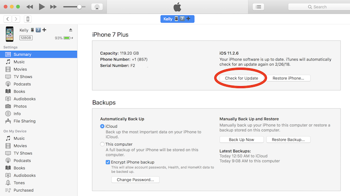 Fix a corrupt or not compatible iTunes backup by updating the iPhone in iTunes