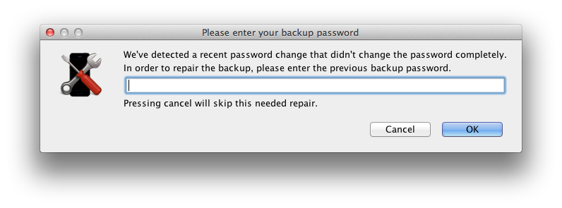 Decipher Backup Repair prompting for previous backup password to fix password change errors