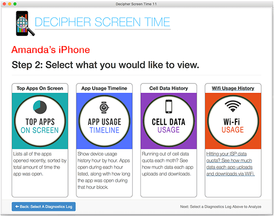 Decipher Screen Time select what data you'd like to view