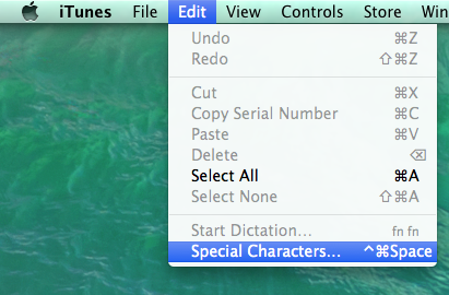 OS X Special Characters option in the Edit menu.