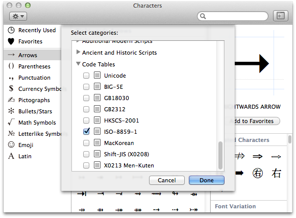 OS X Yosemite adding ISO-8859-1 symbols to the symbols and emoji window.