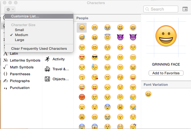 OS X Yosemite Special Symbols customize list.
