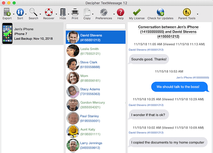 Software screenshot of how to select a contact and transfer text messages from iPhone to computer