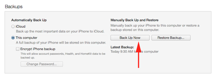 See where in iTunes to make a backup of your iPhone, iPad, or iPod Touch