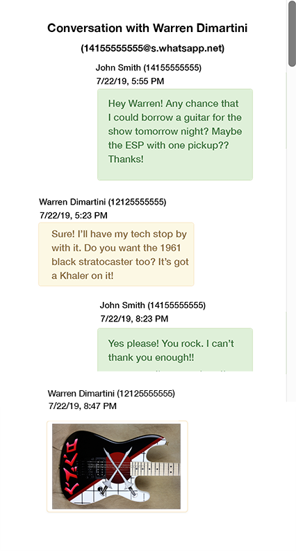 Screenshot of Decipher Chat showing how WhatsApp messages are displayed before printing them out
