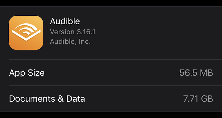 Audible app Storage & iCloud usage screen, showing the app version number.