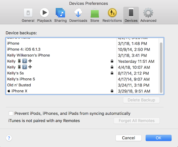 iTunes window showing all of the iPhone/iPad/iPod backups to show other choices than the corrupt iPhone backup
