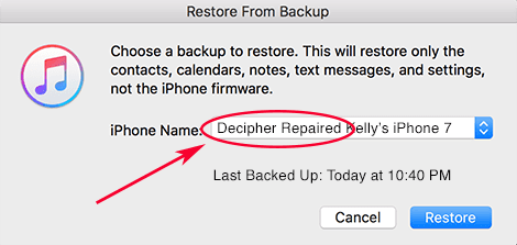 Selecting to restore new repaired backup in iTunes