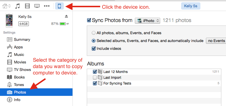Selecting which photos you want to sync in with your iPhone in iTunes
