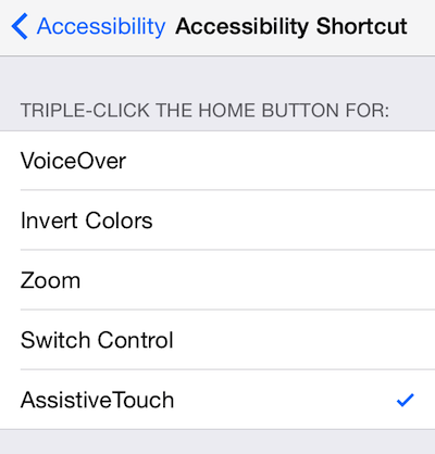 Turn on Accessibility Shortcut for Assistive Touch in the Settings app to turn the Assistive Touch button on and off on your screen.