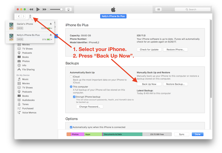 iTunes screenshot with instructions added for how to make a backup an iPhone