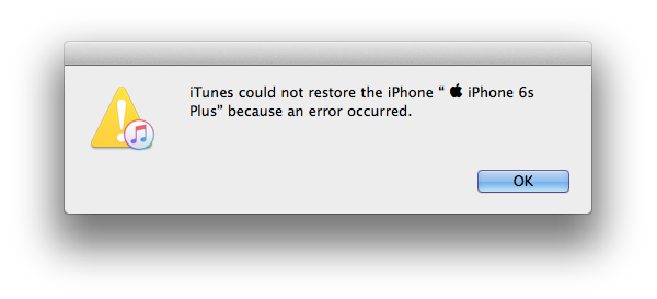 iTunes could not restore the iPhone because an error occurred.