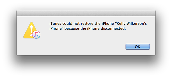iTunes error dialog box saying iTunes could not restore the iPhone because the iPhone disconnected.