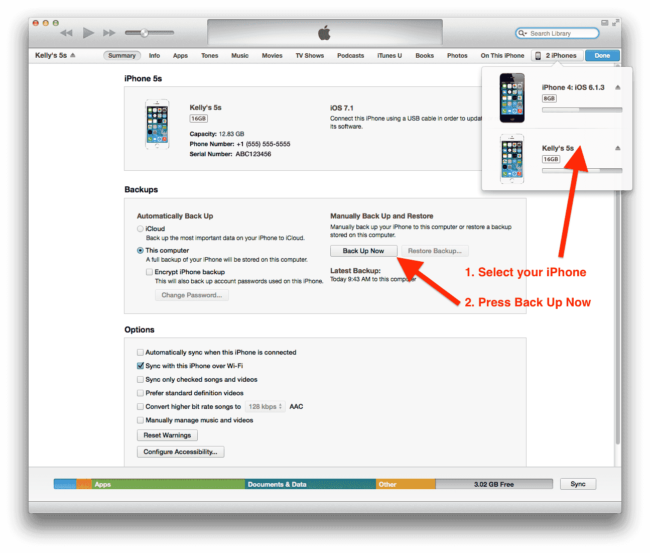 How to select your iPhone and make a backup in iTunes.
