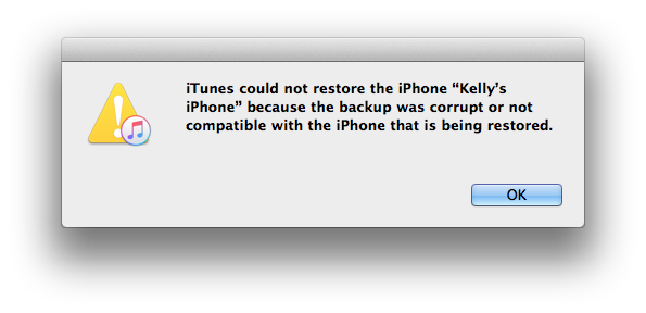 iTunes could not restore the iPhone Kelly's 5s because the backup was corrupt or not compatible with the iPhone that is being restored.