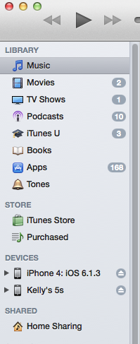 iTunes Showing iOS Devices Listing on the Left