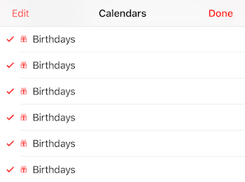 iOS 10 issue where the Birthdays calendar appears many times in the iPhone calendar list.
