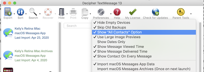Decipher TextMessage Show All Contacts option