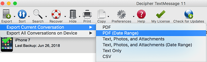 Screenshot displaying how to print text messages on iPhone with a specific time and date range
