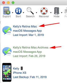 Screenshot example of how to recover deleted text messages in the macOS Messages App with Decipher TextMessage