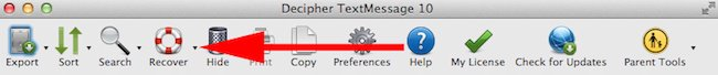 Screenshot of the recover button in Decipher TextMessage