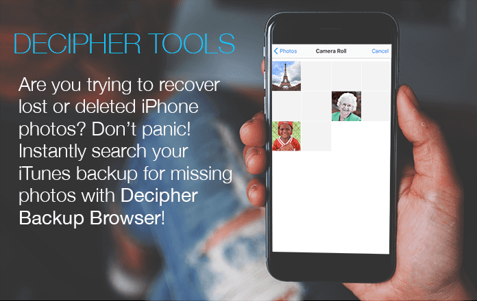 Search your iTunes backup to recover deleted or lost iPhone camera roll photos or videos.