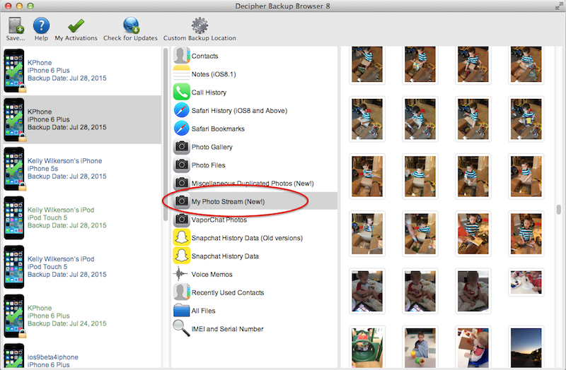 View iCloud Photo Stream pictures in an iPhone backup using Decipher Backup Browser