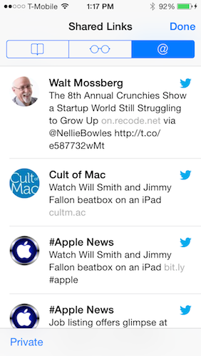 Safari Shared Links section in iOS7 showing my Twitter feed.