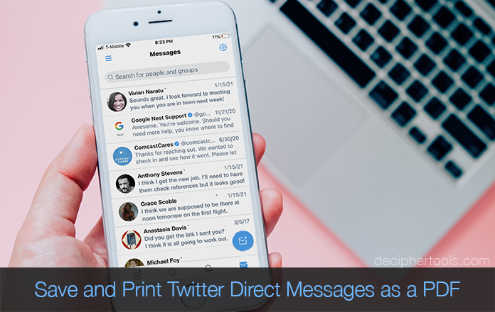 Save Twitter Direct Messages as a PDF