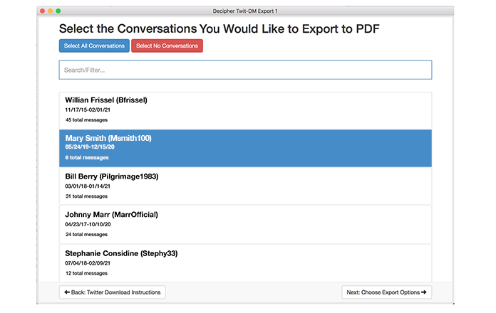 "Select a contact and pick ""Export It"" to save the Twitter DMs to your computer."