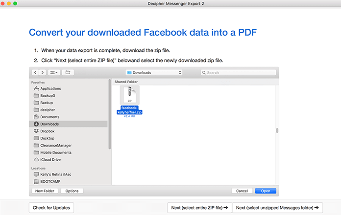 In Decipher Messenger Export, select the zipped file of your Facebook data
