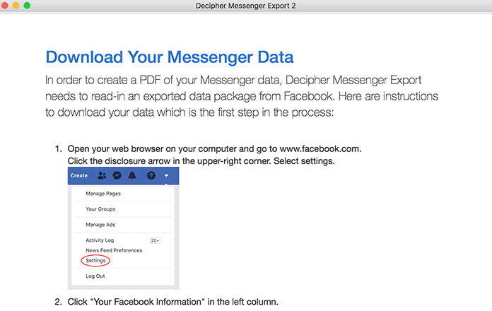 Follow the specific instructions to request a download of your Facebook data to your computer