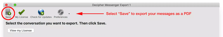Choose Save to export Messenger messages to your computer.