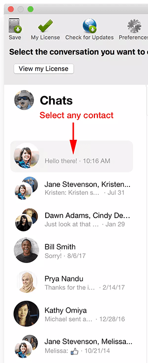 Select a Messenger Contact to export chats to your PC or Mac