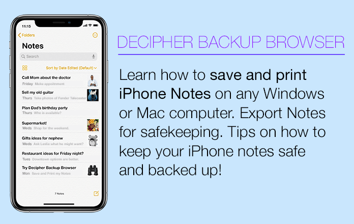 Save iPhone Notes to computer - Mac or Windows