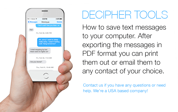 How to save and export text messages in PDF format you can print them out or email them to any contact of your choice.
