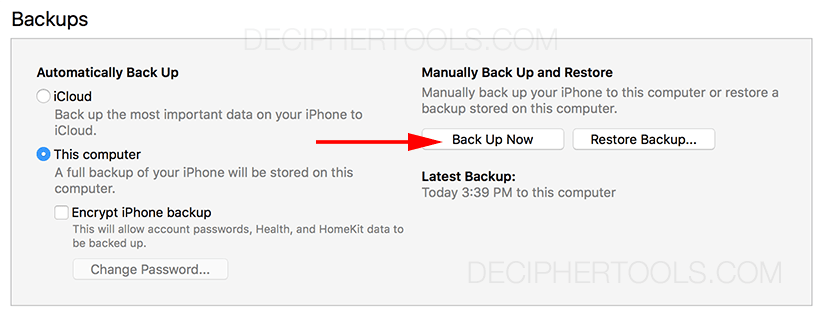 Screenshot showing backing up an iPhone in iTunes