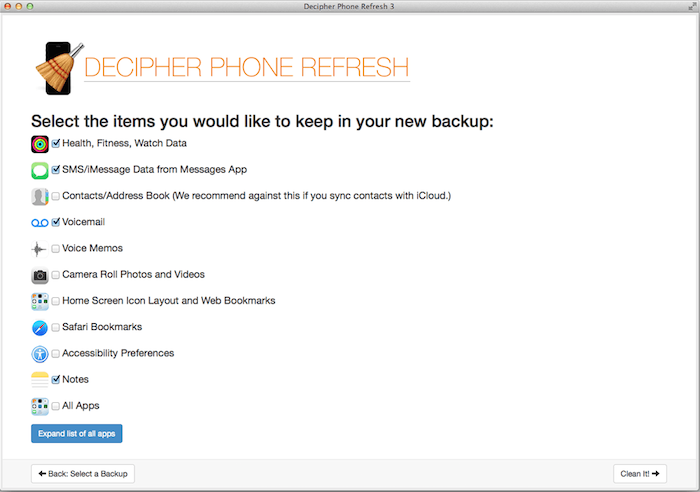 Decipher Phone Refresh screen to choose your data for a selective restore of an iPhone backup.