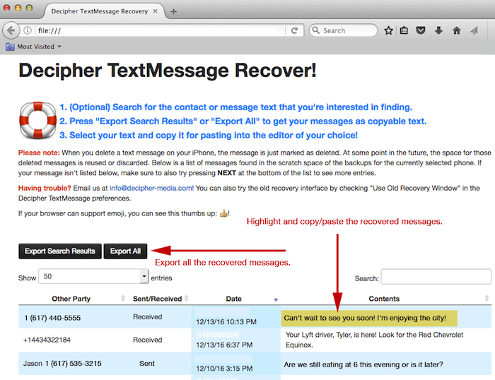 Recovering deleted iPhone text messages in Decipher TextMessage