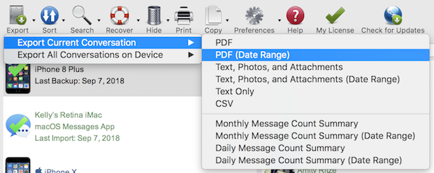 Use the date range export in Decipher TextMessage to make a log of text messages for a certain period of time.