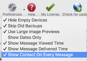 Show Contact on Every Message option in Decipher TextMessage
