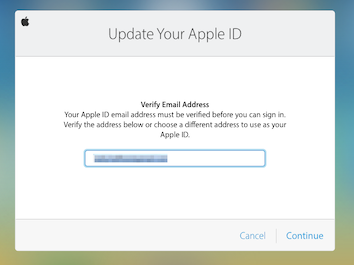 Surprising Update Your Apple ID dialog box popping up. Not allowing Apple ID when entered.