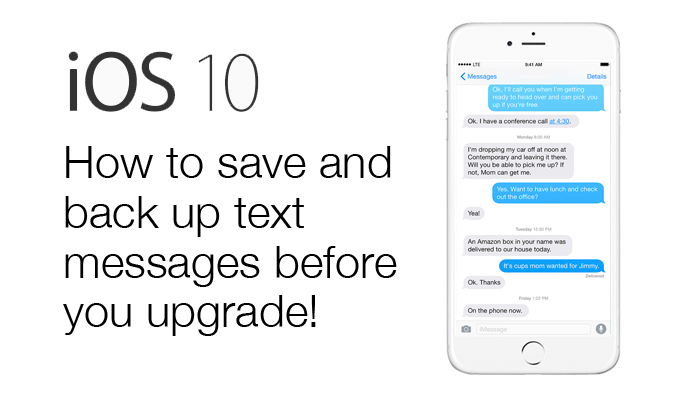 Export text messages before updating to iOS10.