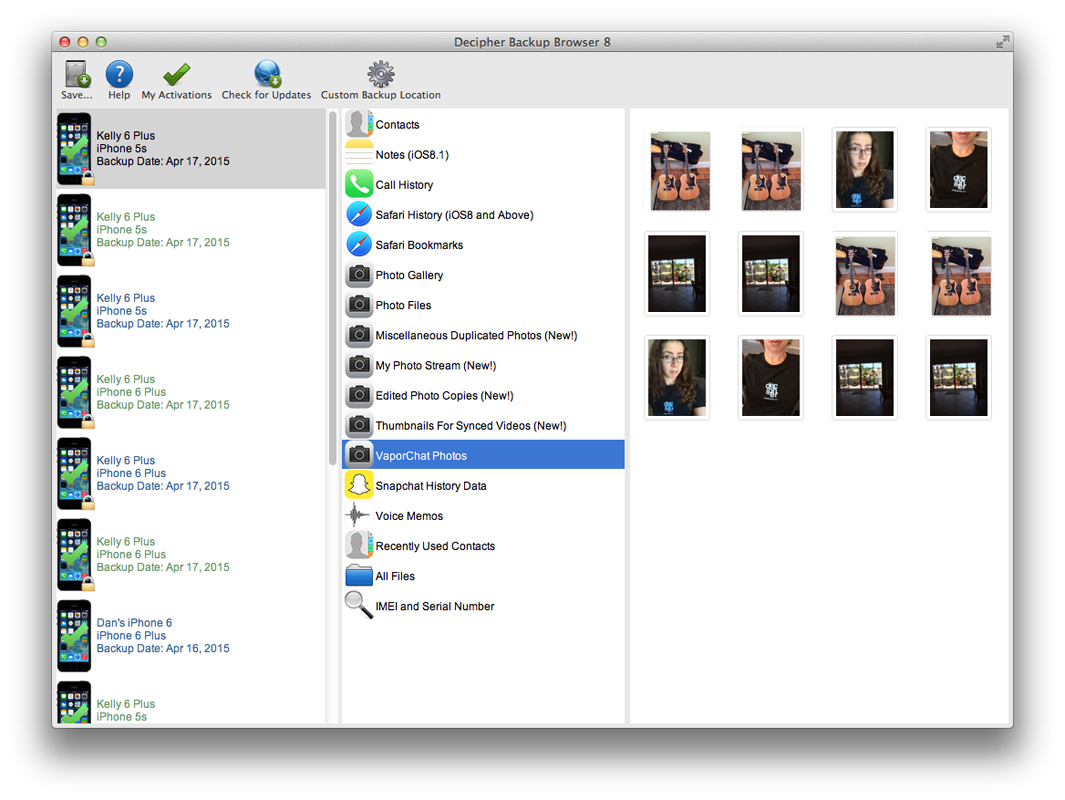 recover deleted VaporChat photos with Decipher Backup Browser